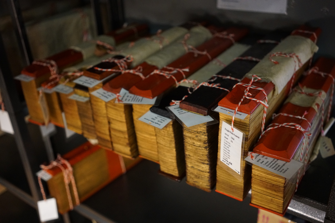 Bundles of palm-leaf manuscripts at FPL